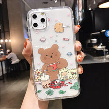 Load image into Gallery viewer, Cartoon Bear Phone Case For Apple iphone 11 Pro X XS Max XR Soft TPU Back Cover For iphone 7 8 plus 7plus Cute Lovely Clear Case