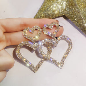Dominated Exaggerated fashion crystal double heart earrings