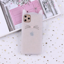 Load image into Gallery viewer, Cute 3D Silicone Cartoon Cat Pink Black Soft Phone Case For iPhone