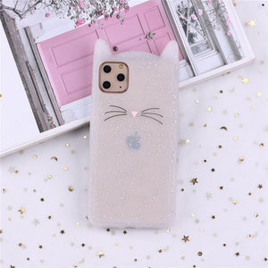 Cute 3D Silicone Cartoon Cat Pink Black Soft Phone Case For iPhone