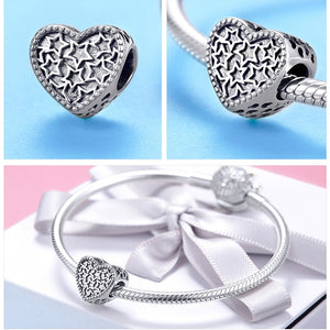 100% Authentic 925 Sterling Silver Heart Shape Charm Beads Fit Brand Charm Bracelet