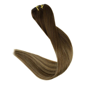 Full Shine Clip In Human Hair Extensions 9Pcs 120gram Balayage Color Ombre