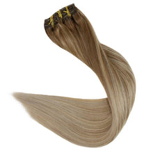 Load image into Gallery viewer, Full Shine Clip In Human Hair Extensions 9Pcs 120gram Balayage Color Ombre
