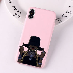 Black Girl Fundas phone case for iPhone Candy Pink Silicone Cases
