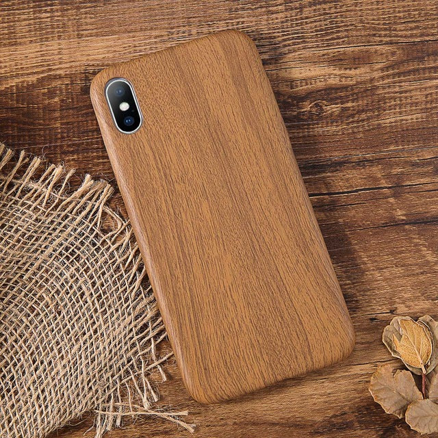 Wood Grain Phone Case For iPhone Soft PU Back Cover