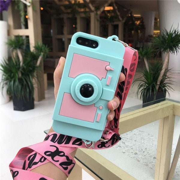 3D Retro Camera Wallet Card bracket Case For IPhone