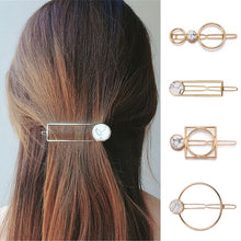 Load image into Gallery viewer, Fashion Women Girls Metal Circle Square Hair Clips Natural Stone
