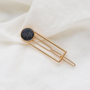 Fashion Women Girls Metal Circle Square Hair Clips Natural Stone