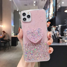 Load image into Gallery viewer, Green Glitter Heart Holder Phone Case for iPhone