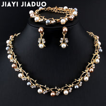 Load image into Gallery viewer, Hot Imitation Pearl Wedding Necklace Earring Sets Bridal Jewelry