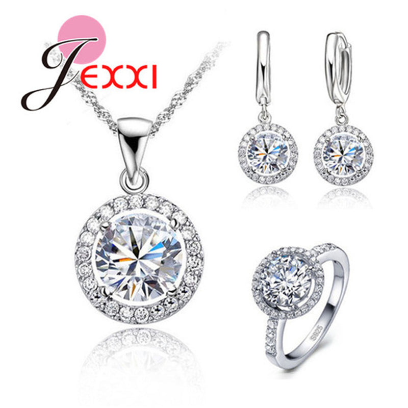 Sun Flower Pendant Necklace Earrings+Rings Shining Cubic Zirconia For Women Bridal