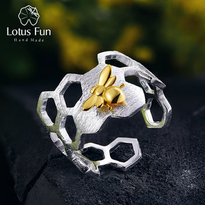 18K Gold Bee Rings Natural Designer Fine Jewelry