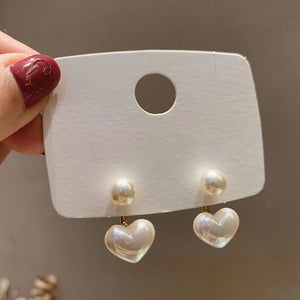 New fashion contracted Heart Pearl fine earrings