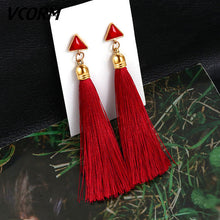 Load image into Gallery viewer, Crystal Long Drop Earrings for Women Red Cotton Silk Fabric Fringe Earrings