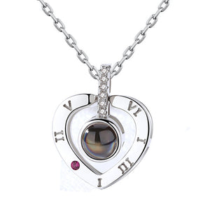 New Rose Gold 100 Languages I Love You Projection Pendant Necklace
