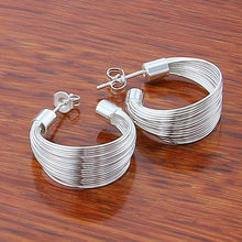 Load image into Gallery viewer, Silver Simple Fashion 3.5cm/5cm Circle Round Hoop Earring for Woman Fine Jewelry
