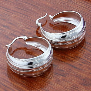 Silver Simple Fashion 3.5cm/5cm Circle Round Hoop Earring for Woman Fine Jewelry