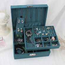 Load image into Gallery viewer, Double-layer Velvet Jewelry Box European Jewelry