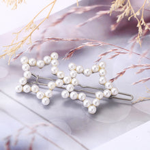 Load image into Gallery viewer, Star Shape Hair Pins Simulated Pearls Metal Hair Grips