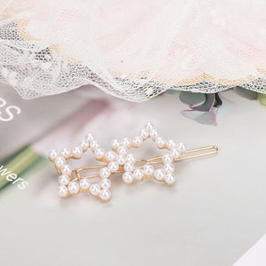 Star Shape Hair Pins Simulated Pearls Metal Hair Grips