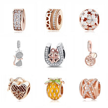 Load image into Gallery viewer, Silver Charm Bead Pendant Spacer Clip Charms Rose Gold Fit Pandora Bracelets Women