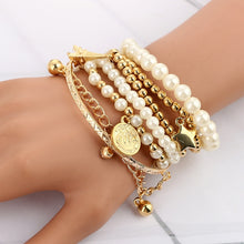 Load image into Gallery viewer, 6pcs/set Fashion Gold Color Beads Pearl Star Multilayer Beaded Bracelets Set
