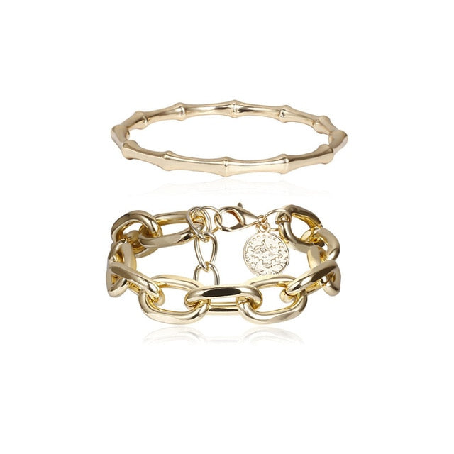 2/Pcs Set Gold Color Metal Chain Link Creative Bamboo Bracelet