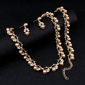 Hot Imitation Pearl Wedding Necklace Earring Sets Bridal Jewelry