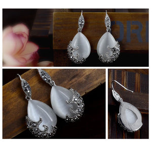 Vintage Water Drop Pendant Necklaces Earrings Set