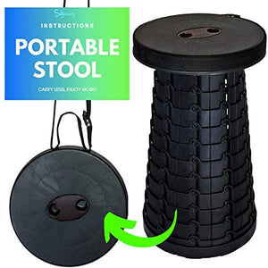 Silginnes Retractable Stool - Lightweight Portable Folding Stools for Adults and Kids - Best for Camping Stool, Travel Chair, Fishing, Hiking, BBQs and Gardening - Collapsible Stool (Black)