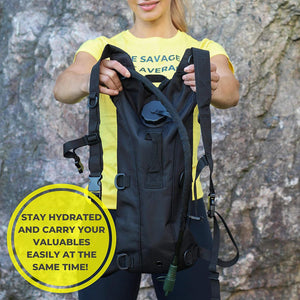 Shape Savages Hydration Backpack - Water Backpack for Hiking and Running - Hydration Pack Designed for Athletes - Running Backbag with Hydration Bladder One Size Fits All - Black Hydration Vest