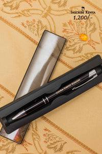 Inscribed Metallic Black ball pen with casing