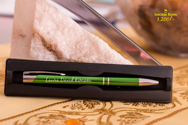 Inscribed Metallic Green pen with casing