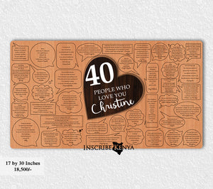 Wooden 40 Messages Inscribed Message Frame MF001 (16 by 30 Inches)