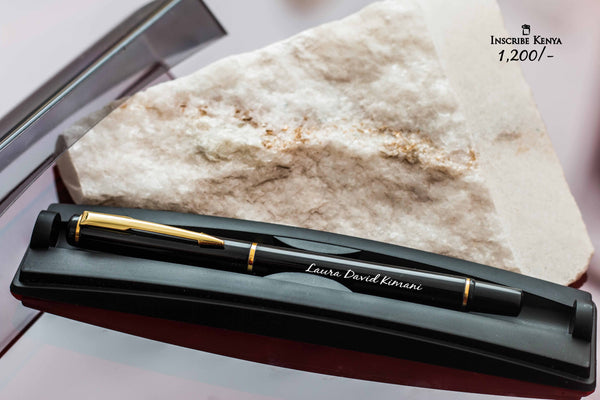 Inscribed Metallic Black/Gold pen with casing