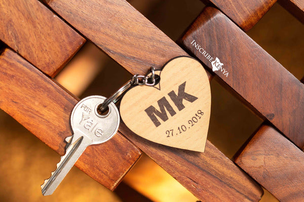 Wooden Heart Keychain
