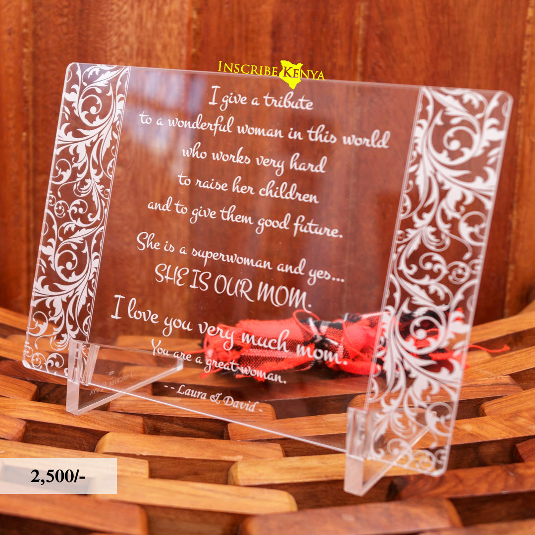 Acrylic Floral Inscribed Message Frame MF006