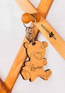 Wooden Teddy Keychain