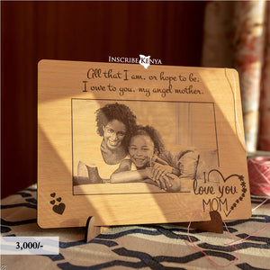 Wooden Heart Love Inscribed Photo Frame PF007
