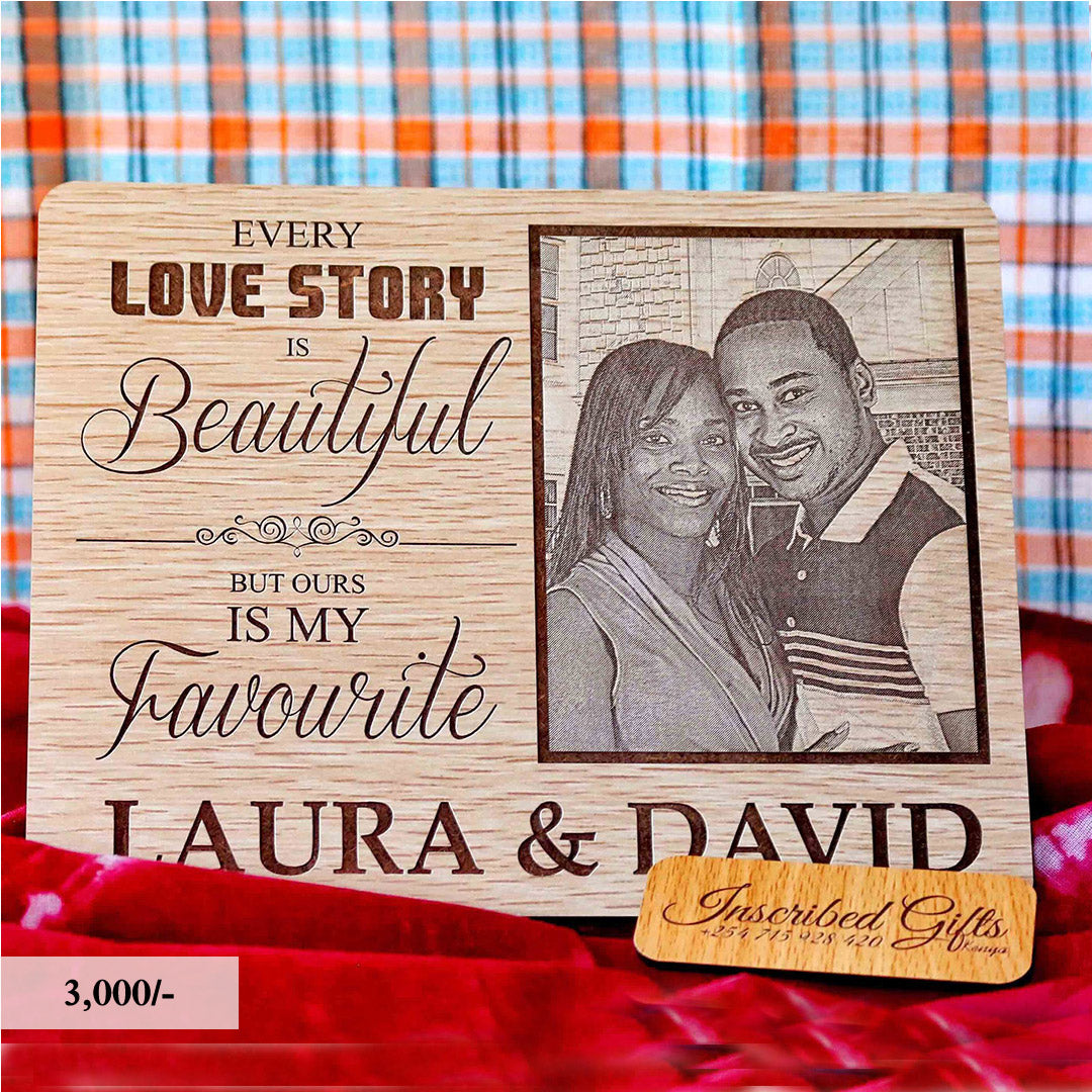 Wooden Lovestory Inscribed Photo Frame PF008