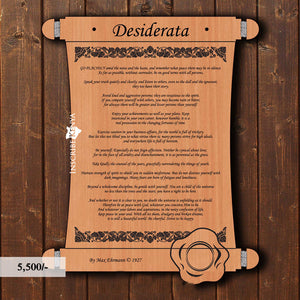 Wooden Scroll Desiderata Inscribed Message Frame MF008