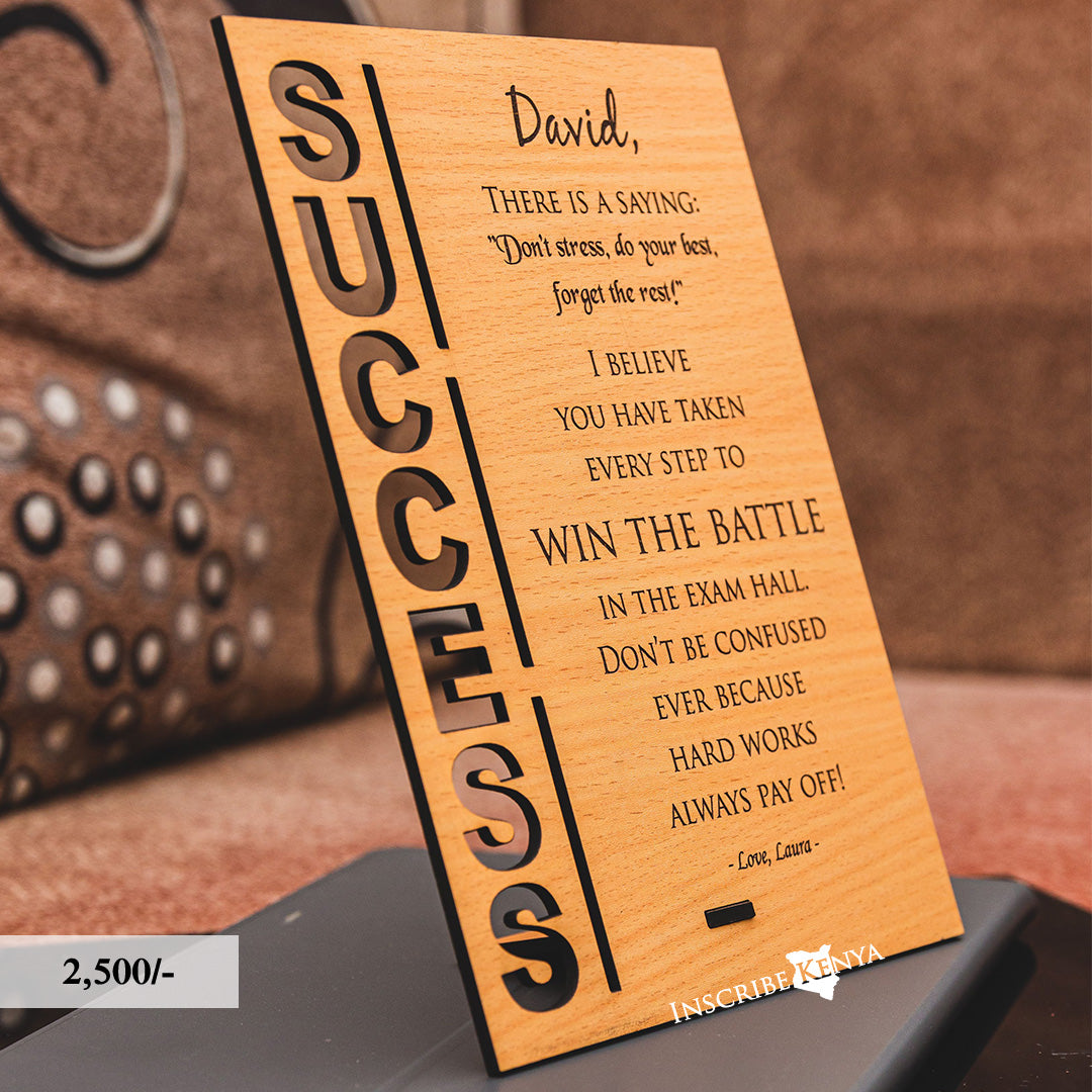 Wooden Success Inscribed Message Frame MF009