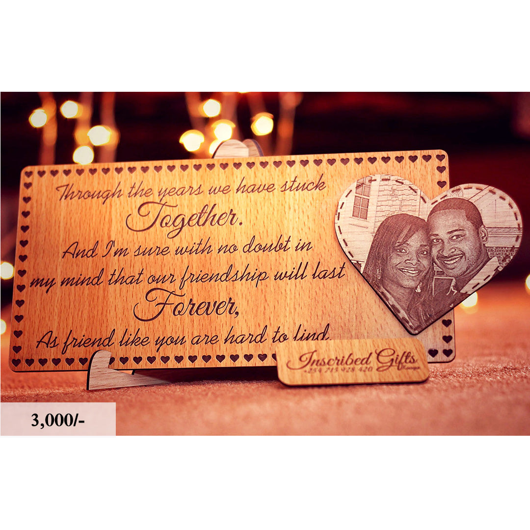 Wooden Heart Add-on Inscribed Photo Frame PF011