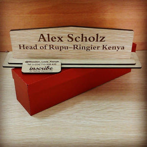 Wooden desk nameplate (3 by 8 Inches)