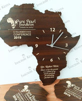 Wooden Africa Wall Clock Dark