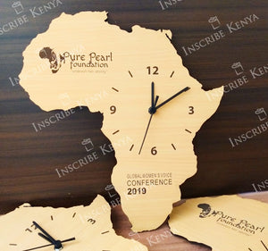 Wooden Africa Wall Clock Light