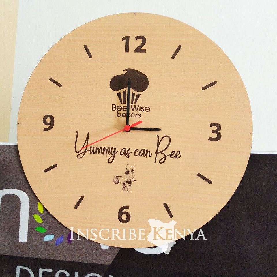 Round Wooden Clock with Logo