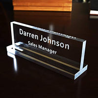 Acrylic Desk Nameplate (3 by 8 Inches)