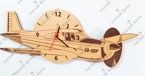 Aeroplane Shaped Wooden Wall Clock