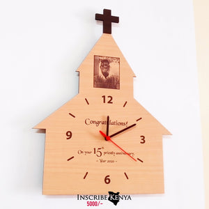 Wooden Cross Church Shaped Wall Clock